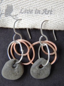 Live in Art River Rock Earrings with hammered sterling silver and copper wire made by artists and farmer Nicole Ringgold