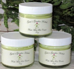 fresh mint foot cream made by susan of gaia's garden herbals in maine