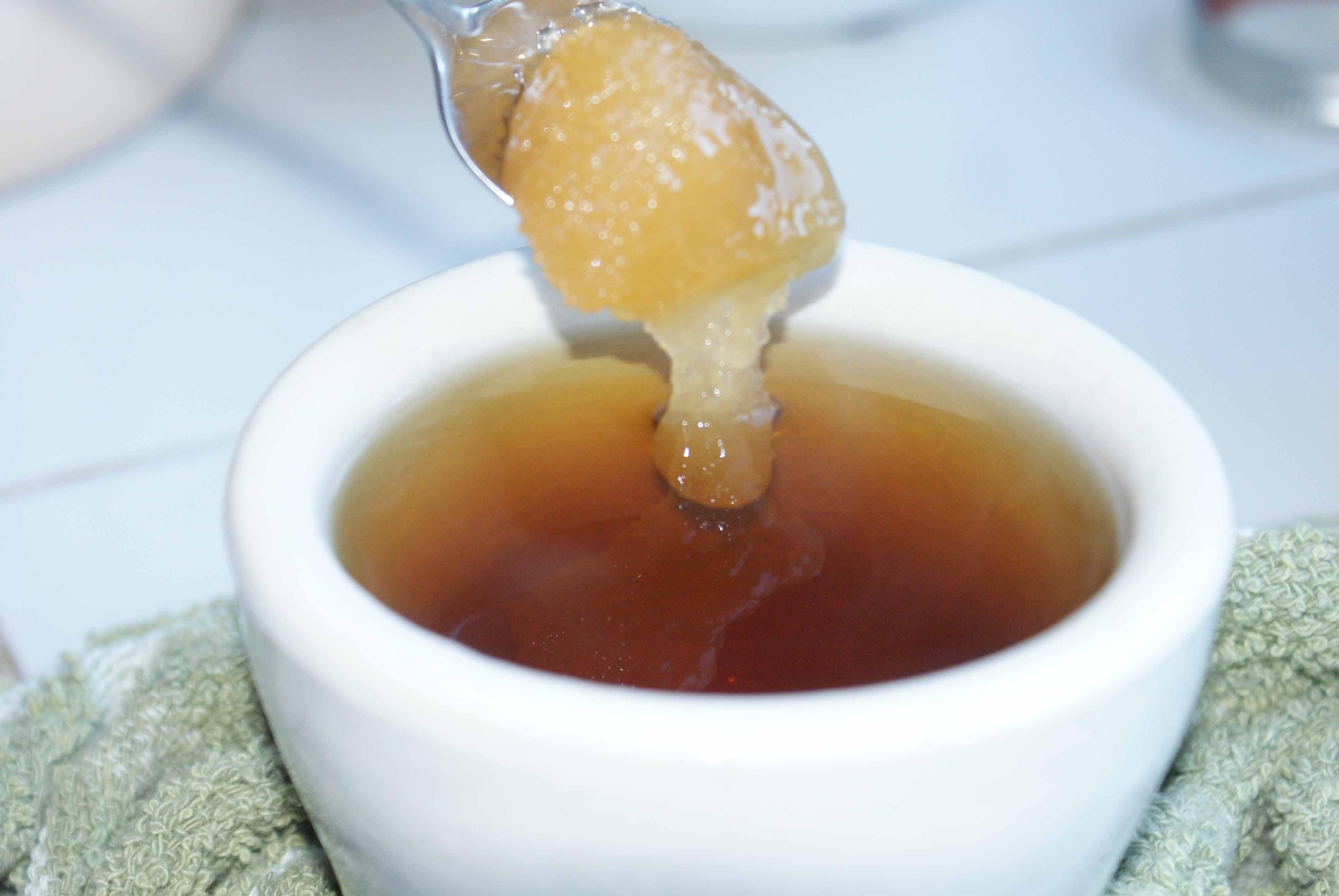 Fresh local honey for herbal tea.