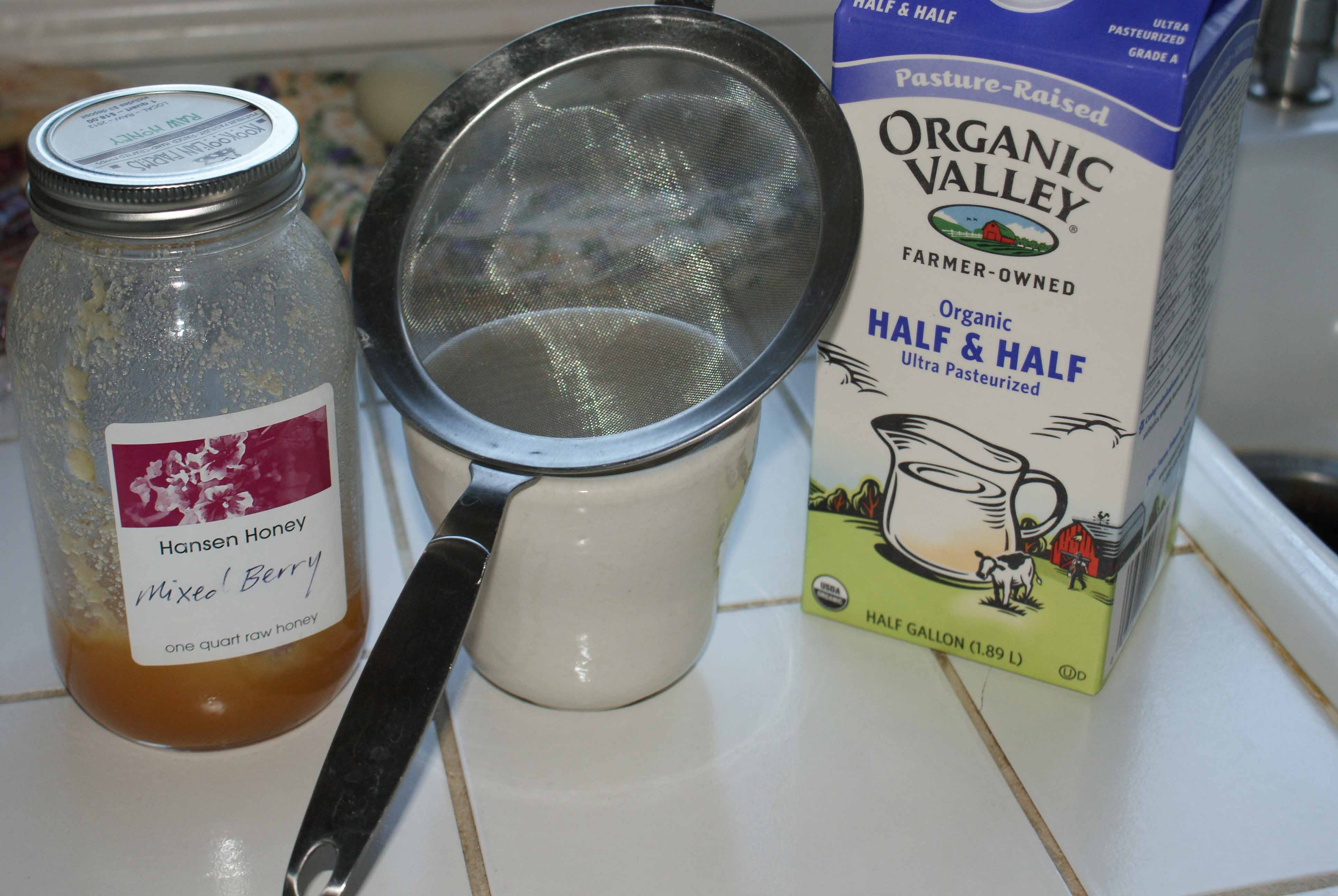 Honey and half-and-half for herbal tea.
