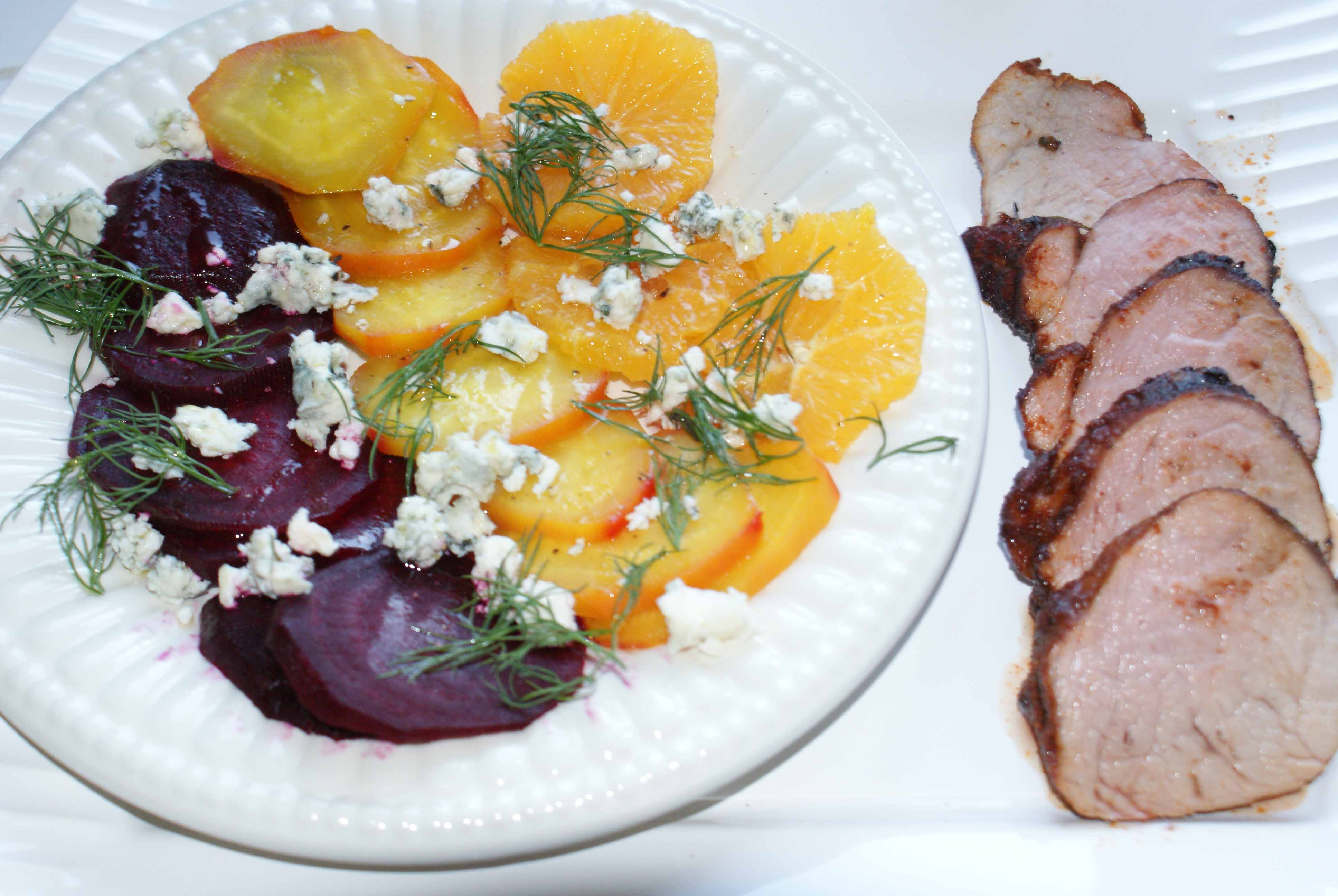 Orange/Beet Salad with Pork Tenderloin.