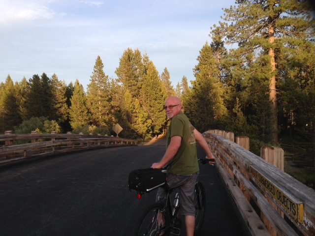 Bill on the bridge over the Deschutes River in Sunriver-photo by Eastonworks